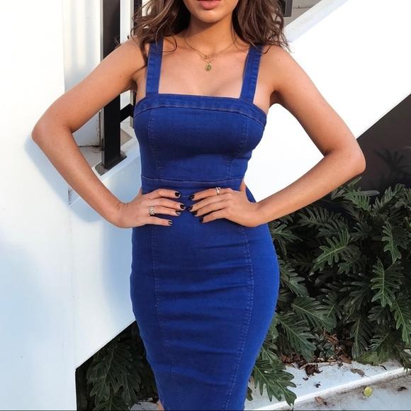 796a0e797394 Dresses | Bright Blue Stretch Denim Bodycon Midi Dress | Poshmark